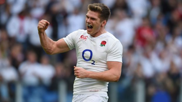 England's Owen Farrell celebrates after scoring his team's fifth try against Italy at the Stadio Olimpico in February 2016 in Rome, Italy. Photograph: Shaun Botterill/Getty Images