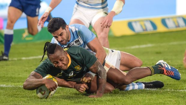 South Africa wing S'bu Nkosi scores a try during the World Cup warm-up test match against Argentina at the Loftus Versfeld Stadium in Pretoria, on August 17th, 2019. Photograph: Christian Kotze/AFP