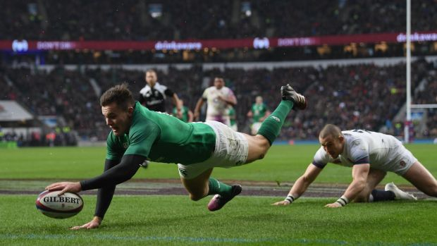 Ireland's Jacob Stockdale scores his side's third try against England at Twickenham in March 2018. His uncanny ability to make something happen and uncanny eye for the try line make him Gerry Thornley's top northern hemisphere player. Photograph: Shaun Botterill/Getty Images