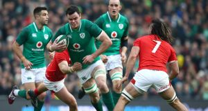 Ireland's James Ryan in action against  Wales in  February  2018 at the Aviva. Gordon D'Arcy, Fiona Coghlan and John O'Sullivan view him as the top northern hemisphere player of the tournament. Photograph:  Julian Finney/Getty Images