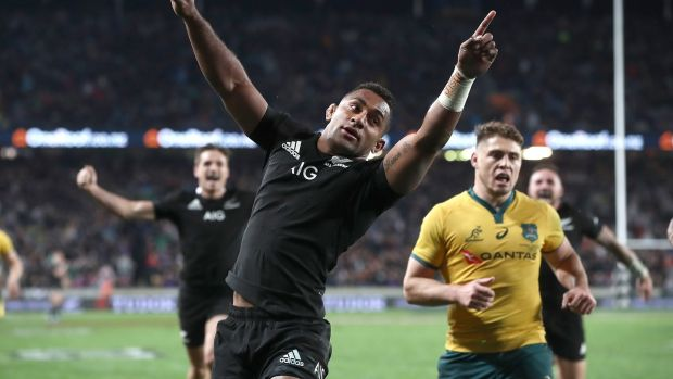 All Blacks's Sevu Reece celebrates his try during the Rugby Championship and Bledisloe Cup Test against Australia at Eden Park on August 17, 2019 in Auckland, New Zealand. Photograph: Phil Walter/Getty Images