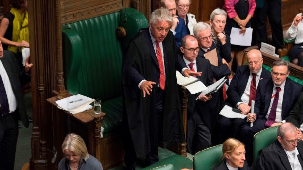 Speaker John Bercow stands as he chairs Prime Minister's Questions in the House of Commons in London on September 4th. Photograph: Jessica Taylor/UK Parliament/AFP/Getty