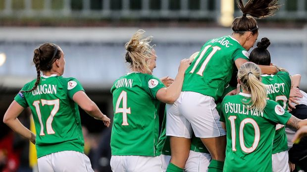 Ireland's women's team began their Euro 2021 qualifying campaign with a 2-0 win over Montenegro. Photo: Laszlo Geczo/Inpho