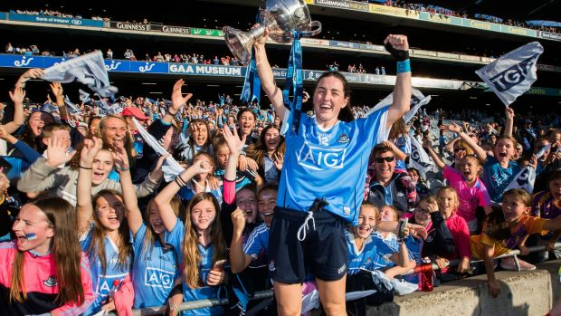 Dublin's Lyndsey Davey celebrates with the trophy after the 2018 final. Photo: Tommy Dickson/Inpho