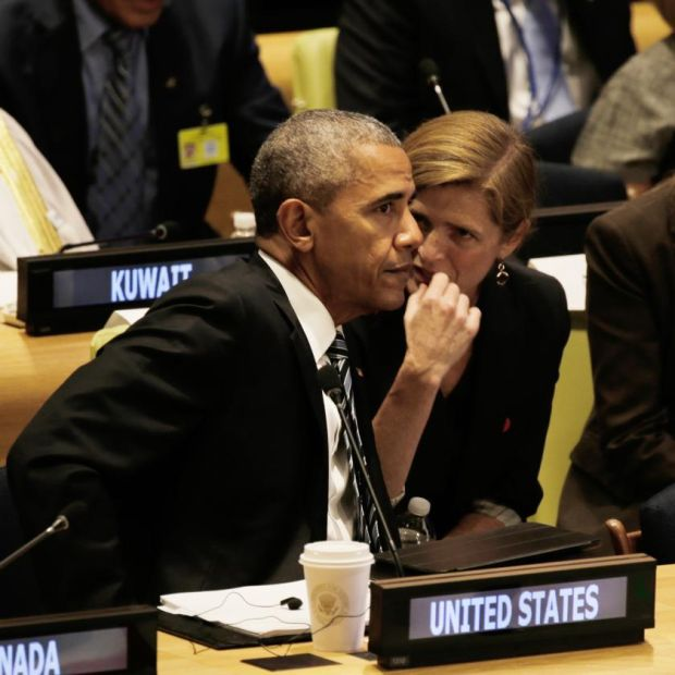 Samantha Power with Barack Obama at the United Nations in 2016. Photograph: Peter Foley/Pool/Getty