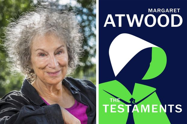 Margaret Atwood and the front cover of her new novel, The Testaments, which has been shortlisted for the 2019 Booker Prize. Atwood photograph: The Booker Prize/PA Wire