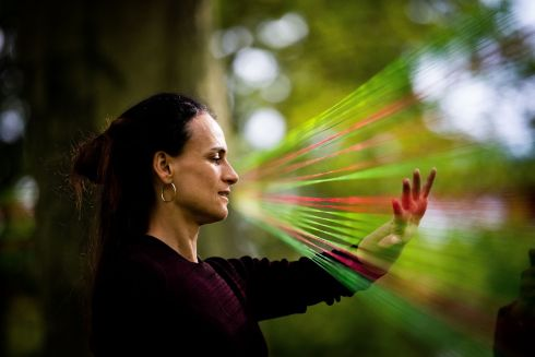 LIVE STREAMING: Marita Martinez-Rey views an art installation by artist Niamh Synnott called Live Streaming, part of the Sculpture in Context 2019 Exhibition, at the Botanic Gardens in Glasnevin, Dublin. Photograph: Tom Honan