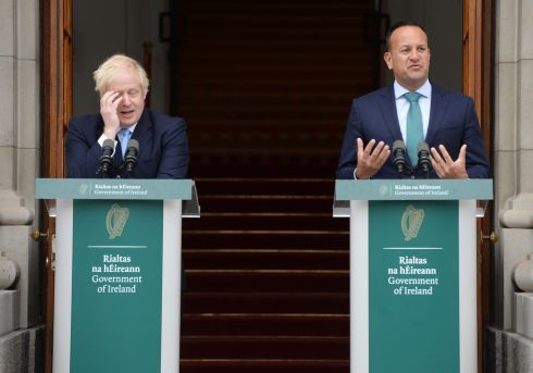 TALKS CRUNCH: British prime minister Boris Johnson listens as Taoiseach Leo Varadkar speaks to the media at Government Buildings during Mr Johnson's visit to Ireland to discuss Brexit on Monday. Photograph: Dara Mac Donaill