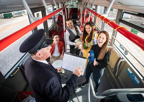 BUS CONDUCTOR: From left to right on the Bus Éireann Culture Bus in Cork city are local musicians Paul Brennan, Erin Boone, Hannah Fitzgerald and Mary Jo Ryan, with Bus Éireann's Colin McIntyre, promoting Culture Night, coming on September 20th in the city. Buses will be available to the public to visit various events on the night.