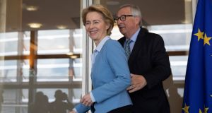 Incoming European Commission president Ursula von der Leyen  with outgoing president Jean-Claude Juncker prior to a lunch meeting in Brussels. Photograph: Virginia Mayo