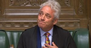 Speaker John Bercow announce that he will stand down during an impassioned speech in the House of Commons, London on Monday. Photograph: House of Commons/PA Wire