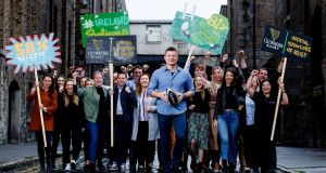 Brian O'Driscoll unveils a new Guinness campaign, Believe, in support of the Irish rugby team as they head for Japan to compete in the  World Cup.  Photograph: Dan Sheridan/Inpho