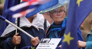 Anti-Brexit protesters demonstrate outside the Houses of Parliament in London as British prime minister Boris Johnson met Taoiseach Leo Varadkar in Dublin on Monday as he battled to salvage his hardline Brexit strategy. Photograph: Isabel Infantes/AFP/Getty