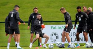 Ireland's Jack Byrne and James Collins during training ahead of the friendly against Bulgaria on Tuesday. Photo: Ryan Byrne/Inpho