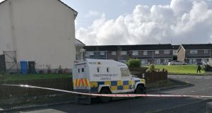 Police at  Creggan Heights, Derry, on Monday after residents were evacuated when a suspicious device was found in a house. Photograph: Aoife Moore/PA Wire