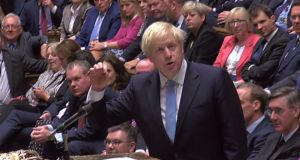 A video grab from footage broadcast by the UK Parliament's Parliamentary Recording Unit  shows Britain's prime minister Boris Johnson speaking following the announcement of the result of a vote on his motion for an early parliamentary general election, a motion that did not carry, in the House of Commons in London on Tuesday morning.  Photograph: PRU/AFP/Getty