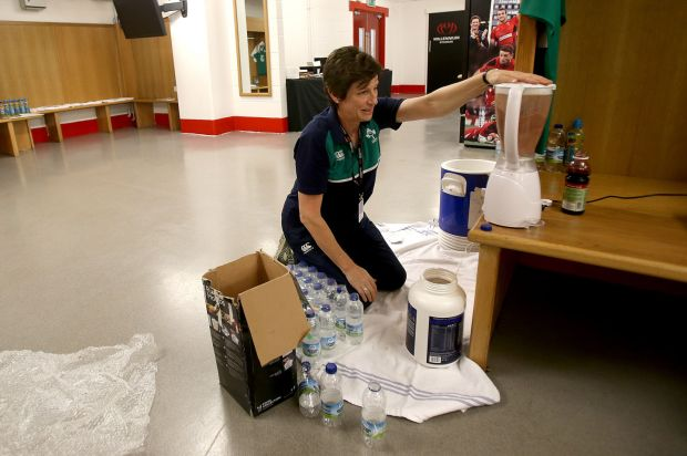 Performance nutritionist Ruth Wood-Martin in the dressing room during the 2015 Rugby World Cup in Cardiff. Photograph: Dan Sheridan/Inpho