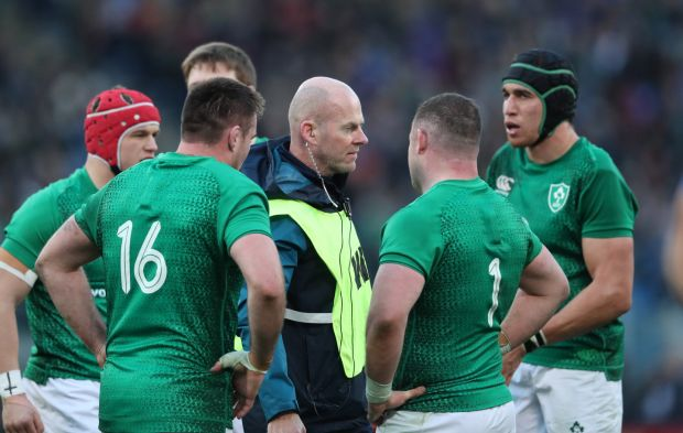 Technical analyst Mervyn Murphy on pitch with members of the Irish team in Italy in February. Photograph: Billy Stickland/Inpho