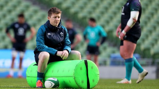 Physio Colm Fuller at a squad training session in the Aviva stadium in February. Photograph: Dan Sheridan/Inpho