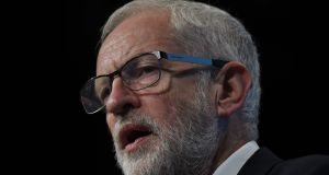 Jeremy Corbyn speaks during the Trades Union (TUC) Congress in Brighton on Tuesday. Photograph: Getty Images