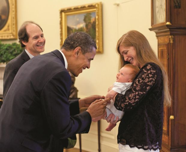 Oval Office: Samantha Power introduces her two-month-old son, Declan, to Barack Obama, watched by her husband, Cass Sunstein, in 2009. Photograph: Pete Souza/White House