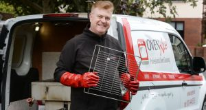 Brian Farrelly from Oven Ace Professional Oven Cleaning on site with oven rack cleaning machinery. Photograph: Alan Betson