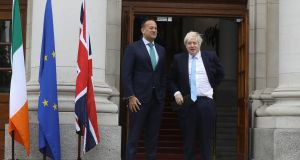 "Taoiseach Leo Varadkar  with British prime minister Boris Johnson at Government Buildings in Dublin on September 9th, ahead of intensive discussions on Brexit.  ""Managing the public finances will be no easy task if there is a no-deal Brexit."" Photograph: Lorraine O'Sullivan/AFP/Getty Images"