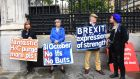Pro-Brexit protesters outside the Houses of Parliament in London. Photograph: Facundo Arrizabalaga/EPA