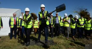 Minister for Housing Eoghan Murphy and Cllr Shay Brennan, turn the sod on new 'cost rental' development in Stepaside, Dublin. Photograph: Dara Mac Dónaill