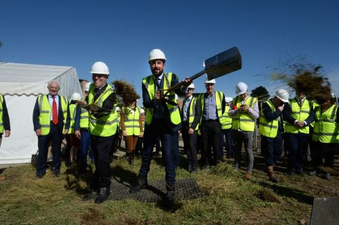 FIRST FOR THE OLD SOD: Minister for Housing Eoghan Murphy (centre) and an cathaoirleach of Dún Laoghaire-Rathdown County Council, Cllr Shay Brennan, turn the sod on the first-ever cost rental development in the State at Enniskerry Road, Stepaside, Dublin. Photograph: Dara Mac Dónaill/The Irish Times