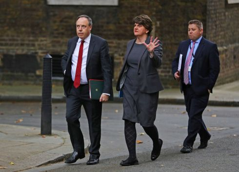 UNIONIST PRIORITIES: DUP leader Arlene Foster and deputy leader Nigel Dodds (left) arrive in Downing Street, London for a meeting on Brexit with British prime minister Boris Johnson. Photograph: Aaron Chown/PA Wire