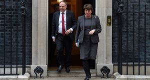 LArlene Foster, leader of the DUP and Nigel Dodds (DUP) leave Downing Street following talks with Boris Johnson. Photograph: Peter Summers/Getty Images