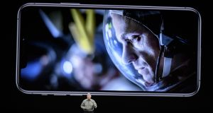 Phil Schiller, senior vice-president of worldwide marketing at Apple, speaks about iPhone Pro during an event at the Steve Jobs Theatre in Cupertino, California on Tuesday. Photograph: David Paul Morris/Bloomberg