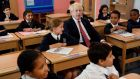 Boris Johnson visiting a school in southwest London: The prime minister focused on domestic issues during Tuesday's cabinet meeting.  Photograph: Toby Melville/PA Wire