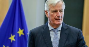 "Ursula von der Leyen, the incoming president of the European Commission, said that Mr Barnier had done ""an outstanding job. Photograph: Stephanie LeCocq/EPA"
