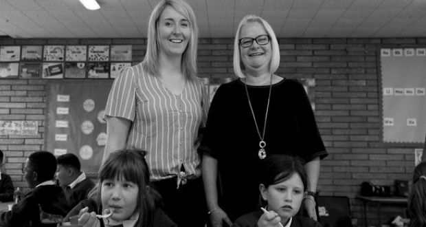 Our Lady of Lourdes, Goldenbridge, Inchicore, Dublin. Zofia and Jodie with second-class teacher Aishling O 'Dywer and Tonya Hanly, principal of Our Lady of Lourdes Goldenbridge. Photograph: Tom Honan/The Irish Times.