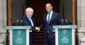 Role reversal: British prime minister Boris Johnson and Taoiseach Leo Varadkar  at Government Buildings, Dublin on Monday. Photograph: Dara Mac Dónaill/The Irish Times