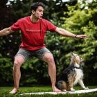 Ireland Rugby World Cup Portraits 2019 Joey Carbery with his dog Tutu in his parents back garden in Athy. He's from New Zealand and loves to surf. Mandatory Credit ©INPHO/Dan Sheridan