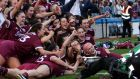 The Galway team celebrates victory over Kilkenny in the All-Ireland senior camogie  final in  Croke Park. Photograph: Laszlo Geczo/Inpho