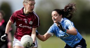 Galway's Tracey Leonard and Sinead Goldrick of Dublin in a  Division 1 semi-final in Kinnegad, Co Westmeath. Photograph: Laszlo Geczo/Inpho