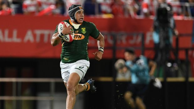 South Africa's Cheslin Kolbe: he is the World Cup player that Tommy Bowe would least like to face. Photograph: Charly Triballeau/AFP/Getty Images