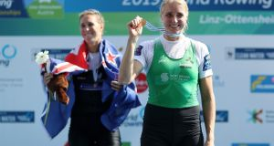 Ireland's Sanita Puspure  at the victory ceremony on September 1st for  the women's single sculls  at the 2019 World Rowing Championships  in Austria.  Photograph   Naomi Baker/Getty Images