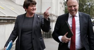 DUP leader Arlene Foster and deputy leader  Nigel Dodds. Foster said any solution for the Border, notably the backstop which she opposes, must command the support of both communities in the North. Photograph: by Dan Kitwood/Getty Images