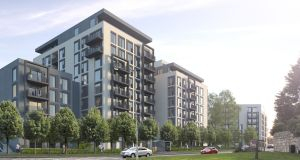 An artist's impression of the apartment buildings proposed for the Grange in Stillorgan, Co Dublin.