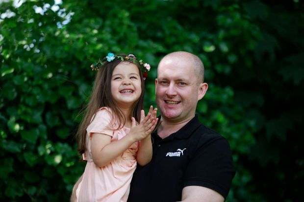 Gavin Leonard with his three-year-old daughter Jade.