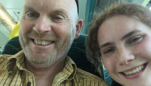Philip Lynch with his daughter Molly on the plane from Hobart to Dublin.