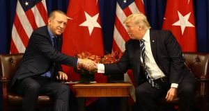 Turkish president Recep Tayyip Erdogan and US president Donald Trump: Erdogan has upset the White House by turning to Russia for defence purchases. Photograph:  Kayhan Ozer/Anadolu Agency/Getty Images