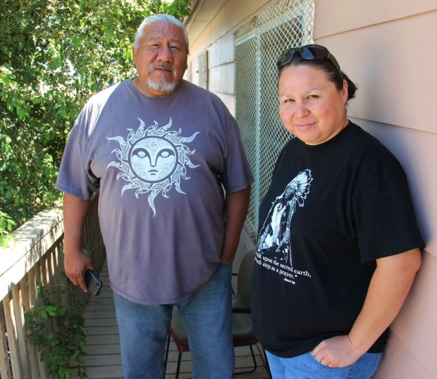 Milton Bianas and Jenn Black Feather, staff at the Oglala Sioux Tribe Victim Services. Photograph: Stephen Starr