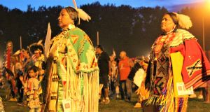 Participants at a traditional pow wow celebration in Pine Ridge Reservation last month. Photograph: Stephen Starr