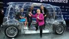 Angela Merkel tours the Frankfurt motor show on Thursday. Photograph: Getty